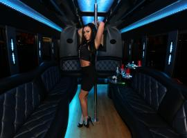 Feast your eyes on sexy stripper in luxurious party bus!